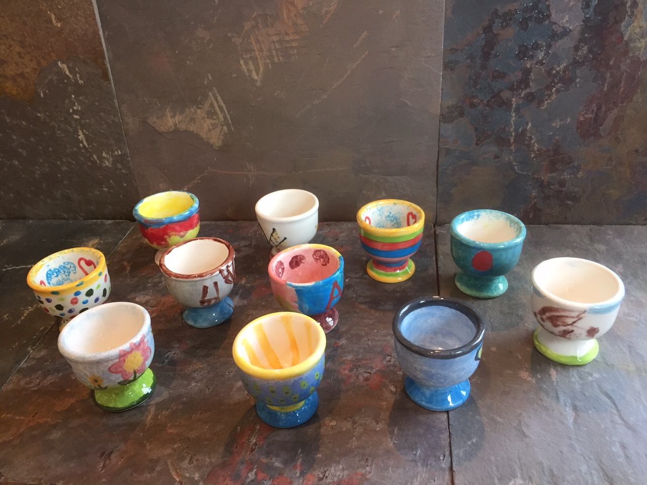 Pottery painting egg cups