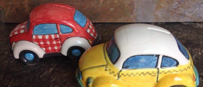 Pottery painting money box cars
