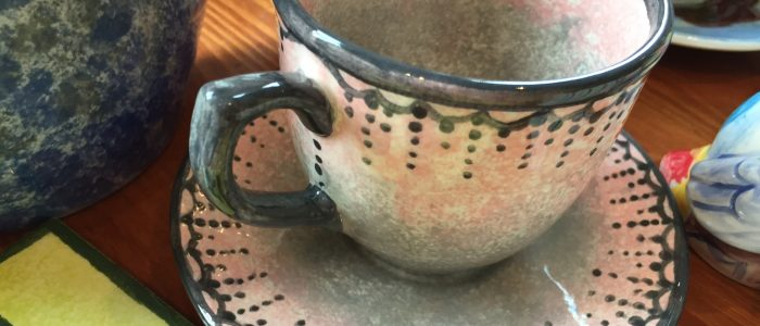 Pottery painting cup and saucer