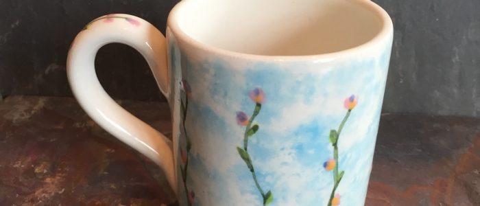 Pottery painted mug