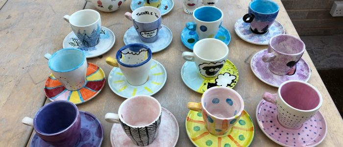 Cup & saucer pottery paiting party